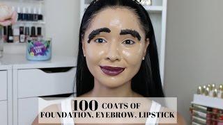 getlinkyoutube.com-100 Coats Of Foundation, Eyebrow, Lipstick & Highlight