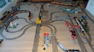 getlinkyoutube.com-Gigantic Lego Train Layout with 30 years of Lego Train sets