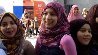 getlinkyoutube.com-Alexandria Egypt with young Moslem girls awaiting entrance with their school class to famous library