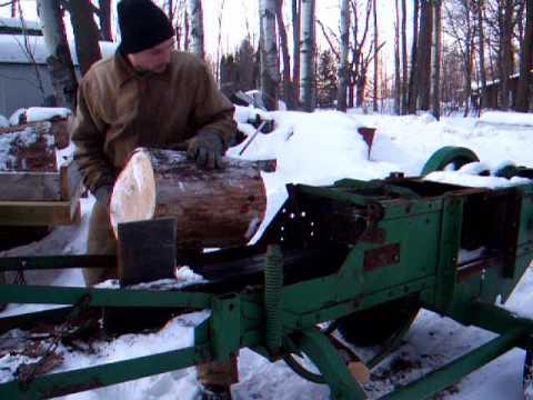 Hay baler wood splitter, John Deere 14T, split wood fast