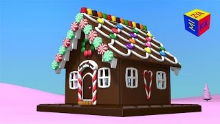 getlinkyoutube.com-Christmas cartoons for toddlers kids children. Construction game: gingerbread house.