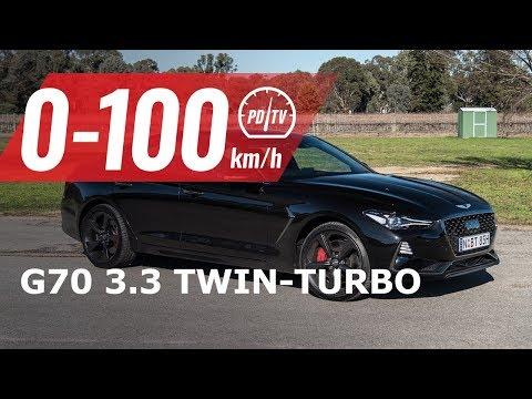 2019 Genesis G70 3.3T V6 0-100km/h & engine sound (short edit)