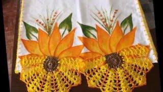getlinkyoutube.com-Pintura em tecido pano de prato com croche