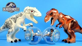 getlinkyoutube.com-Jurassic World Indominus rex & T-rex LEGO KnockOff Big Figures Set 4
