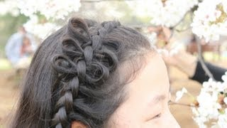 getlinkyoutube.com-編み込みアレンジ  リボンヘア Dutch Braid Arrangement with bows