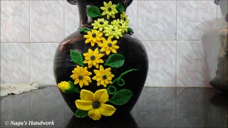 getlinkyoutube.com-Pot Painting-Flower making using clay By Nagu's Handwork