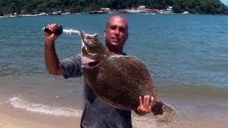 getlinkyoutube.com-Linguado Grande no Jumping Jig Sapinho (Itacuruçá) - Pesca com Caiaque - Kayak Fishing - Leogafanha
