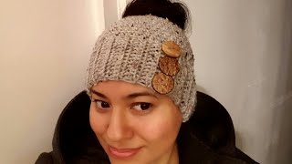 getlinkyoutube.com-Gorro (Abierto para sacar el pelo) a Crochet(ganchillo)