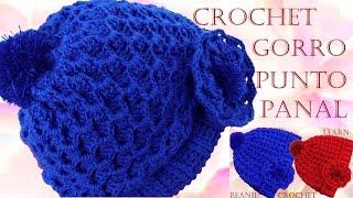 getlinkyoutube.com-Como tejer Gorro boina a Crochet o Ganchillo punto panal en relieve