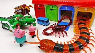 getlinkyoutube.com-Go Go Geo Meca, Tayo the Little Bus Garage Station is Under Attack by Monster Bugs ~!
