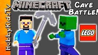 getlinkyoutube.com-MINECRAFT FIGHT! Lego Cave Monster Zombie Build #21113 Toy Review Play HobbyKidsTV