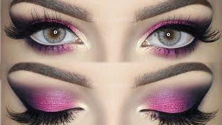 getlinkyoutube.com-♡ Pink, Violet and Black Smokey Eye | Bright & Colorful Makeup TUTORIAL ♡ (English)