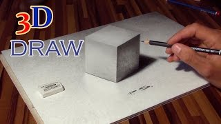 getlinkyoutube.com-Drawing of a CUBE in 3D ! optical illusion (anamorphic)