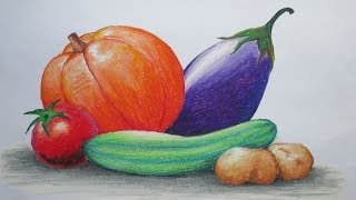 getlinkyoutube.com-How to Draw Vegetables with Oil Pastel