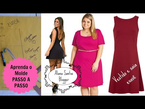 Molde de vestido e saia evasê Alana Santos Blogger