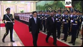 Sudan's President al-Bashir in Beijing, signing ceremony