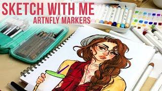 getlinkyoutube.com-Sketch With Me // ArtnFly Marker Review // Jacquelindeleon