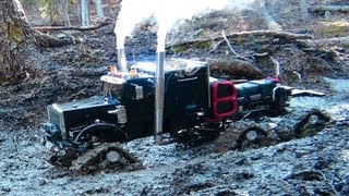 "getlinkyoutube.com-RC ADVENTURES - Muddy Tracked Semi-Truck 6X6X6 HD OVERKiLL & 4X4 ""BEAST"" MT on the Trail"