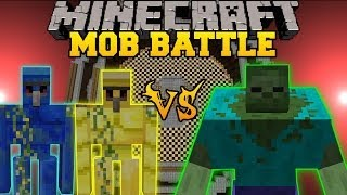 getlinkyoutube.com-Gold Golem and Lapis Golem Vs. Mutant Zombie - Minecraft Mob Battles - Mutant Creatures Golem World
