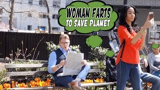 Woman Farts To Save Planet - Global Warming Awareness