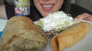getlinkyoutube.com-ASMR: Carnitas Burrito, Asada Sope, Chicken Taquitos | Mexican Food | Eating Sounds