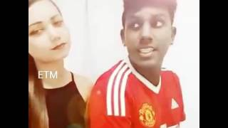 Black boy and white girl singing tamil song