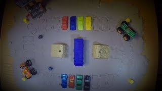 getlinkyoutube.com-Hot Wheels Monster Jam Table Top Drag Racing Game! How to make
