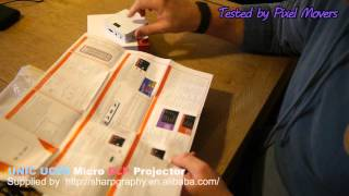 getlinkyoutube.com-UNIC UC50 LED DLP Portable Micro (very small) Projector Review