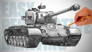 getlinkyoutube.com-How to draw a tank (M26 Pershing) - Easy Perspective Drawing 15