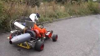 getlinkyoutube.com-JET KART WITH AFTERBURNER ON THE ROAD