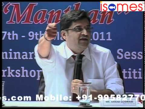 "Arnab Goswami and Ashutosh at ISOMES in Panel Debate at ""Manthan"" 3 days media fest of ISOMES (3)"