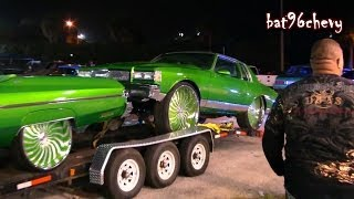 getlinkyoutube.com-Car Show Customs GREEN FLEET: Box Chevy on 32s, 75 Donk, Ford Dually, Busa, SRX - HD