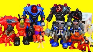 getlinkyoutube.com-Imaginext Robot Wars with Iron Man Superman Big hero 6 Baymax Nightwing Star Wars Darth Vader