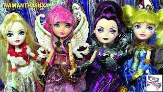 getlinkyoutube.com-EVER AFTER HIGH THRONECOMING APPLE, RAVEN, C.A CUPID & BLONDIE LOCKES DOLL COLLECTION REVIEW VIDEO