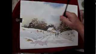 getlinkyoutube.com-How to paint a simple loose snow scene