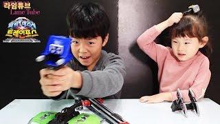 getlinkyoutube.com-레일바주카 파워레인져 트레인포스 반다이남코 장난감 열차합체 Ressha Sentai ToQger Toys Unboxing & Review おもちゃ đồ chơi 라임튜브