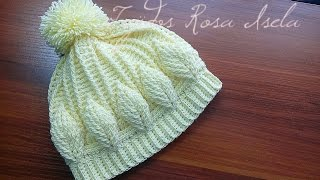 getlinkyoutube.com-Gorro con hojas en relieve crochet
