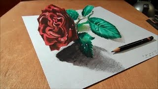 getlinkyoutube.com-3D Drawing Rose on Paper, Artistic Illusion