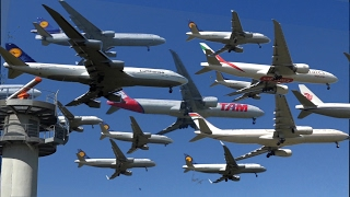 Incredible Plane Landings - 75 planes in 50 seconds (Funny)