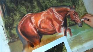 getlinkyoutube.com-Fast drawing - The River Horse in soft pastels
