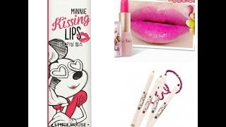 etude house xoxo minnie kissing lips/rose creamy pencils/peripera love fair tint glow stick
