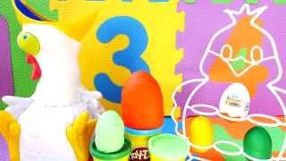 getlinkyoutube.com-Crazy Chicken Eats Play Doh Kinder Surprise Eggs Toys Disney Cars 2 Spiderman Barbie Spongebob