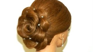 getlinkyoutube.com-Hair made rose. Wedding hairstyle for long hair
