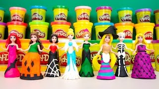 getlinkyoutube.com-Disney Princess Play-Doh Halloween Costume | Ariel Elsa Anna Rapunzel Cinderella Snow White Belle