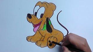 getlinkyoutube.com-Dibujando y pintando a Pluto (Mickey Mouse) - Drawing and painting to Pluto
