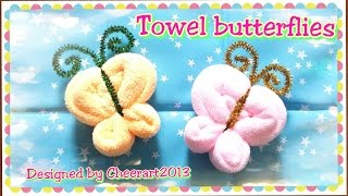 getlinkyoutube.com-Towel fold craft - Towel butterfly tutorial摺毛巾手工教學 - 毛巾蝴蝶教學