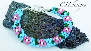 getlinkyoutube.com-Cherry blossom beaded kumihimo bracelet
