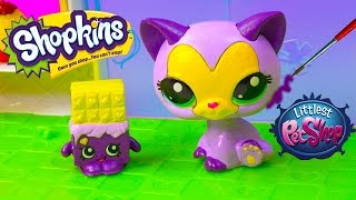 getlinkyoutube.com-DIY Shopkins Season Inspired LPS McDonalds Happy Meal Toys Cat Littlest Pet Shop Custom Craft Video