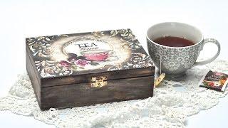 getlinkyoutube.com-Pudełko na herbatę decoupage DIY tutorial