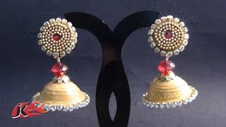 getlinkyoutube.com-DIY Paper Quilling Jhumka and Stud | How to make | JK Wedding Craft 006